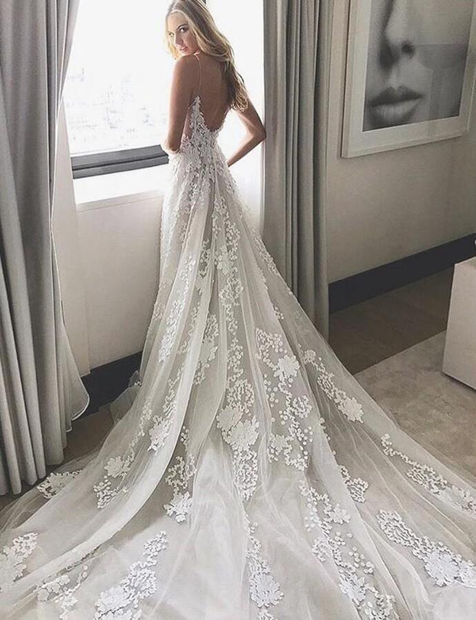 Wedding Dress, White Lace Long Wedding Dress, Bridal Gown W6397
