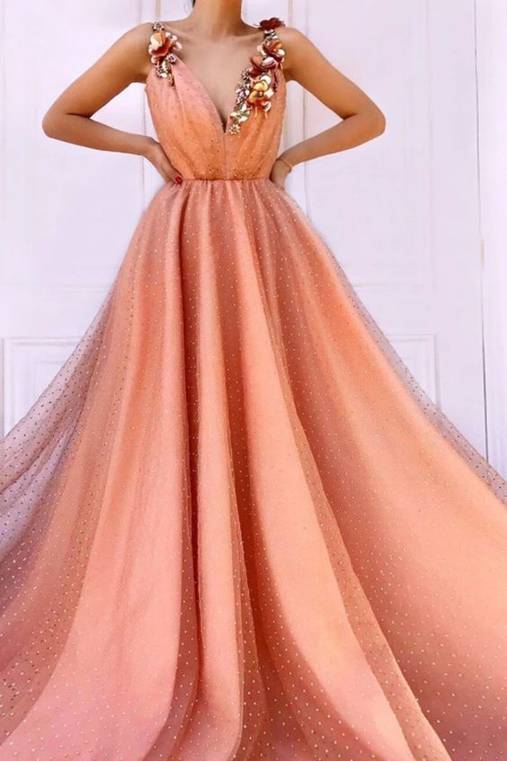 Charming Orange 3D Flowers Long Prom Dresses V-Neck Tulle Cheap Evening dress