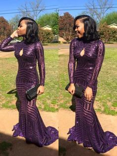 Purple Sequined Long Sleeves Mermaid Prom Dresses