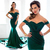 Elegant Fashion Dark Green Mermaid Prom Dresses Green Off Shoulder Pleats Floor