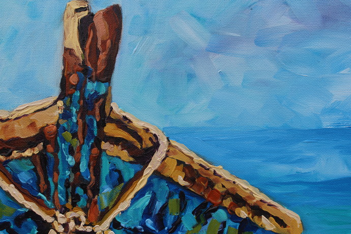 Original Boat Oil Painting on Canvas Anchored Signed Rebecca Beal