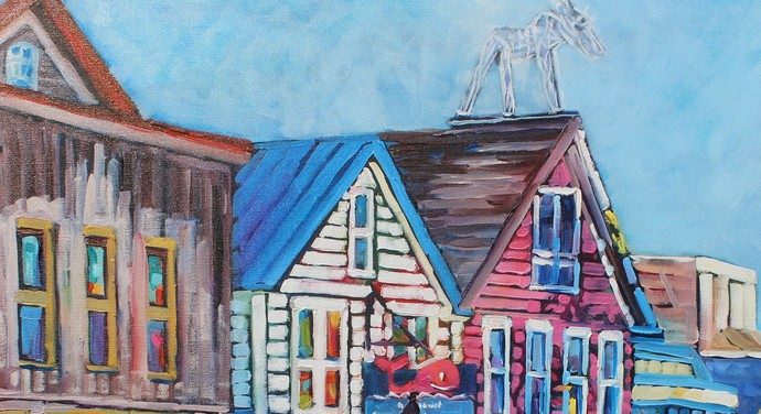 Original colorful Oil Painting Bar Harbor Maine on Canvas Signed by Artist