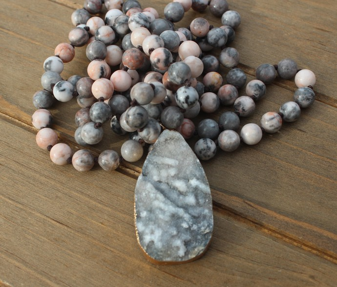 Long Double wrap Beaded Necklace with Pendant Energy of Light Pink & Gray