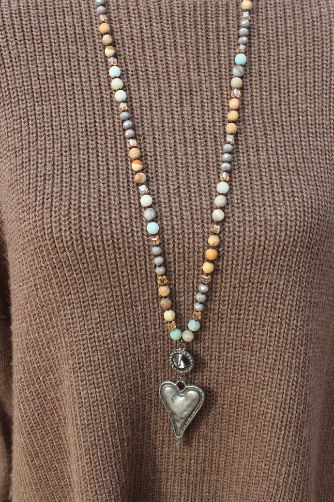 Heart Jewelry Long Hand Knot Beaded Necklace Natural stone & Czech crystal