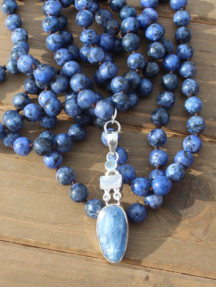 Instant Pick me up Long Double wrap Beaded Necklace with pendant Kyanite &