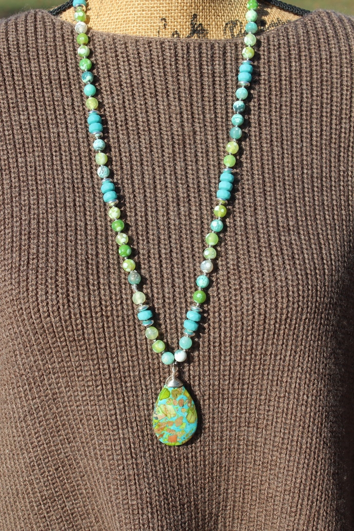 Calming Blue & Green Long Hand knot Beaded Necklace with pendant