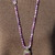 Stunning Purple Agate Hand Knot Long Beaded Necklace with Vintage Pendant