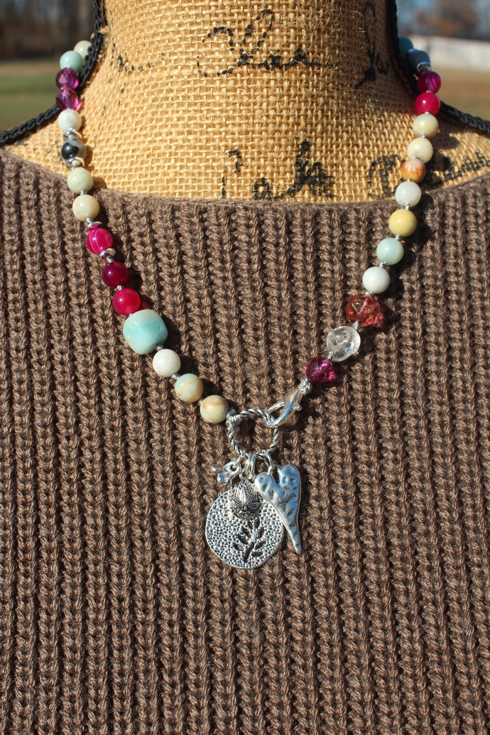 18in Hand Knot Beaded Necklace Amazonite & Hot Pink Agate with Dangle Pendants
