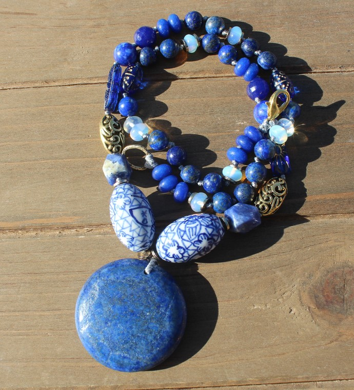 Lapis Lazuli celestial Beaded Necklace with big Pendant Inara Jewelry gifts for