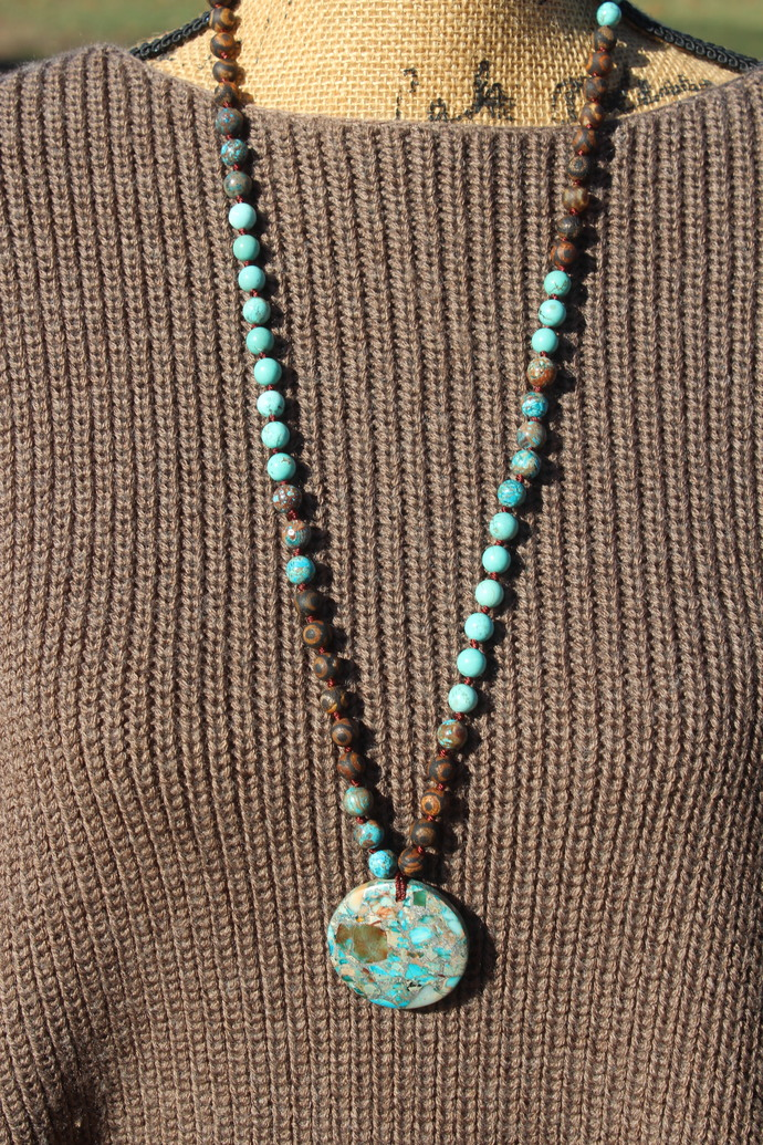 Blue & Brown Good Luck Long Beaded Necklace with Pendant Unique bohemian Jewelry