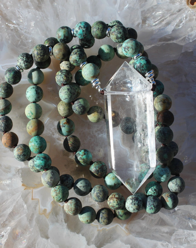 Turquoise Long beaded Necklace with pendant Big Double Terminated Quartz Crystal