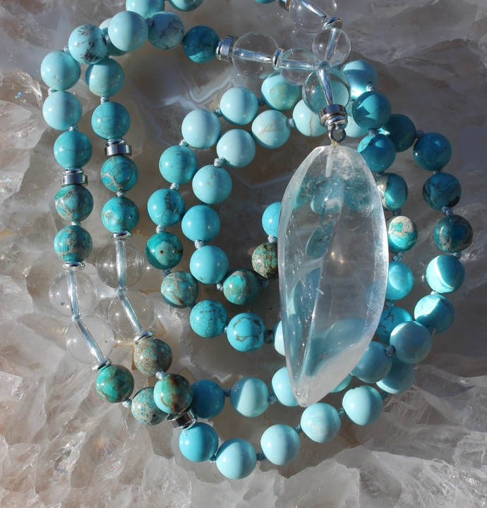 Long Blue Jasper Beaded Necklace with Pendant by knottedUp Quartz Crystal