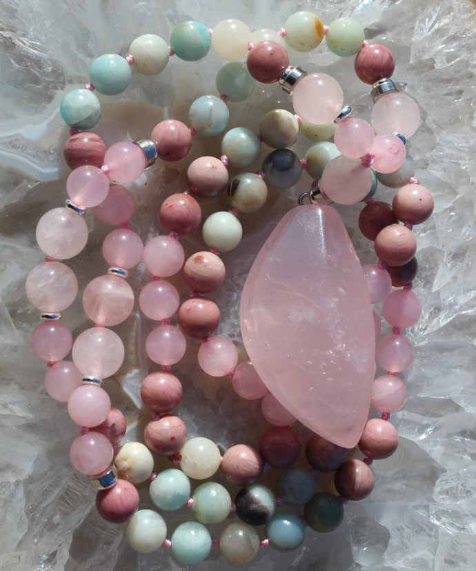 """Rose Quartz """"LOVE"""" Long Beaded Necklace with Pendant Stunning Jewelry gifts"""