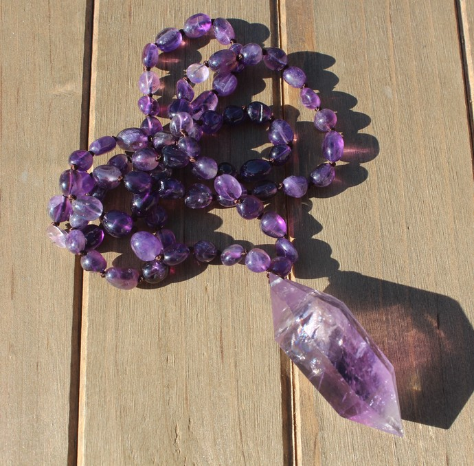 Amethyst Hand Knot Long Beaded Necklace with Pendant Double Point Crystal
