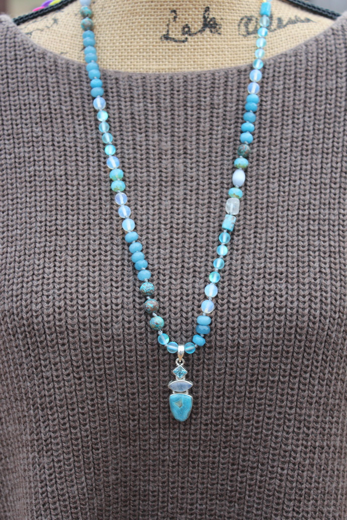 The Security Long Beaded Necklace with pendant Bohemian Glam by knottedup