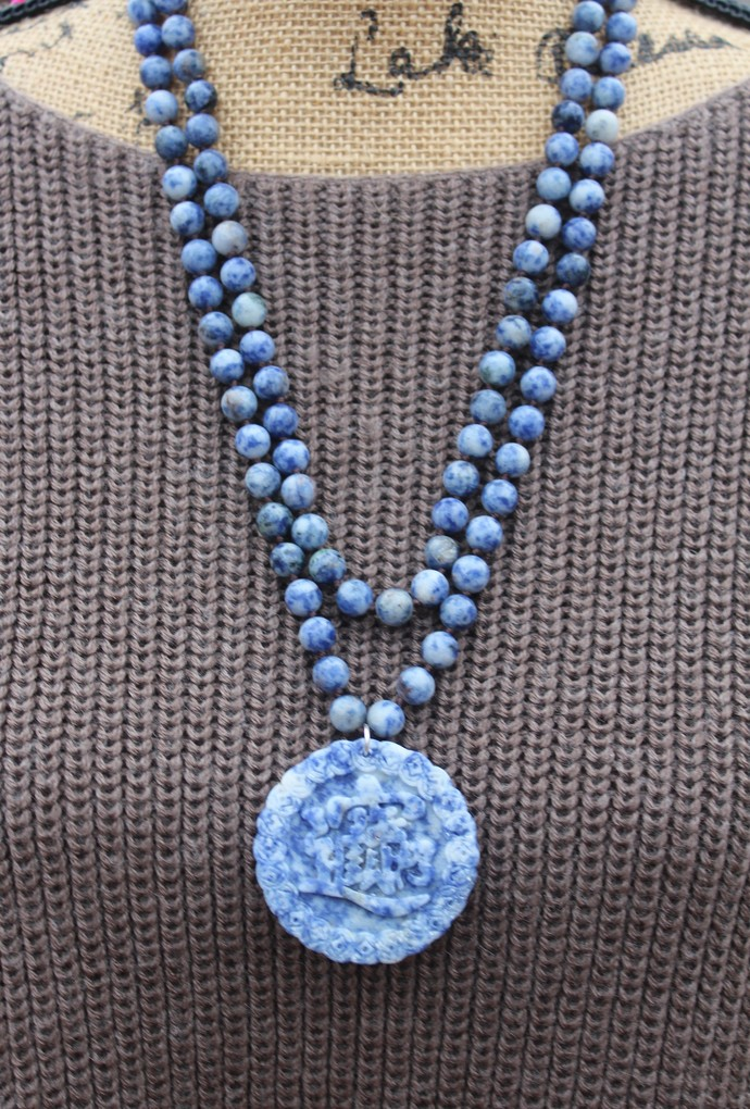 Stunning Long Double wrap Beaded Necklace Blue Sodalite Hand knot jewelry