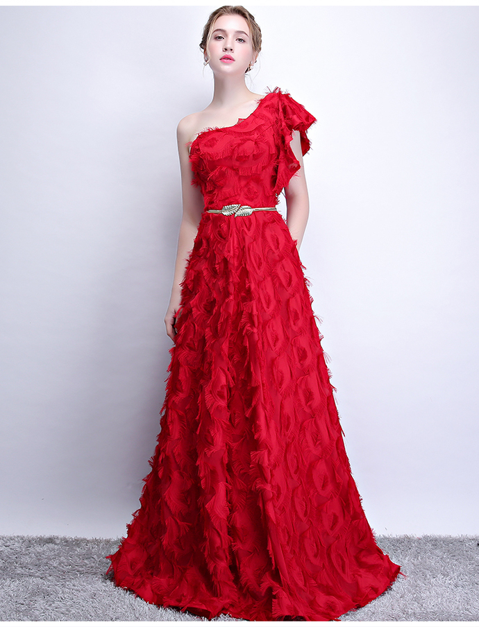 One Shoulder Red Long Prom Dress with Gold Belt 8002088
