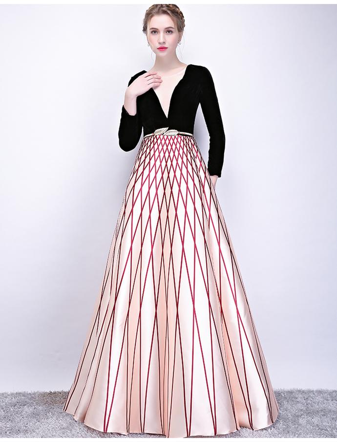 Elegant Deep V Long Sleeves Prom Dress 8002089