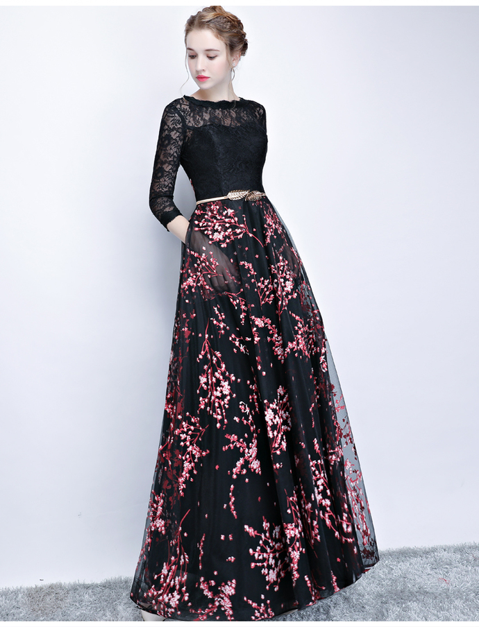 3/4 Sleeves Black Prom Dress with Floral Embroidery 8002092