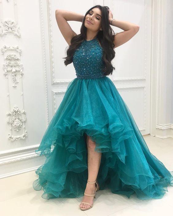 teal blue beaded prom dresses long high low halter elegant organza cheap prom