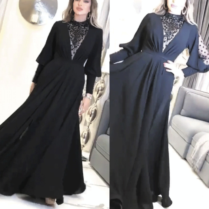 high neck black prom dresses long sleeve beaded elegant chiffon a line cheap