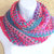 Infinity Moebius Scarf, spiral crocheted in Winter-Spring color stripes brushed