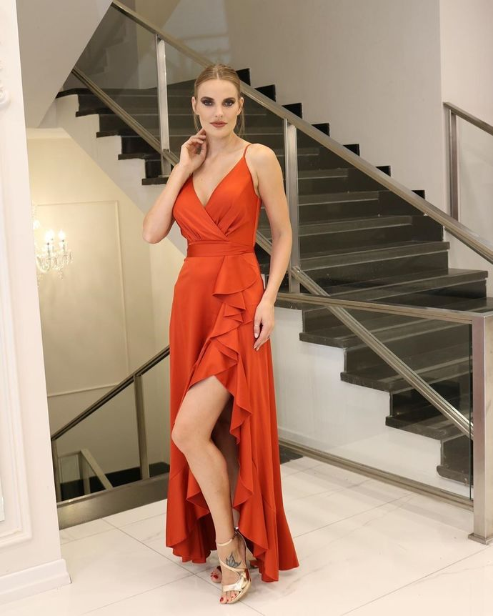 Deep V neck A Line Spaghetti Straps Prom Dresses, Sexy Evening Party Dress