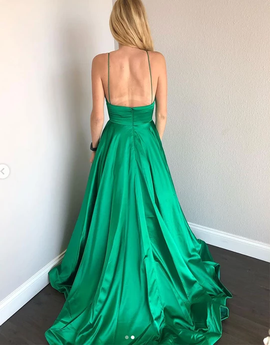 Green Deep V neck A Line Spaghetti Straps Backless Prom Dresses, Sexy Evening