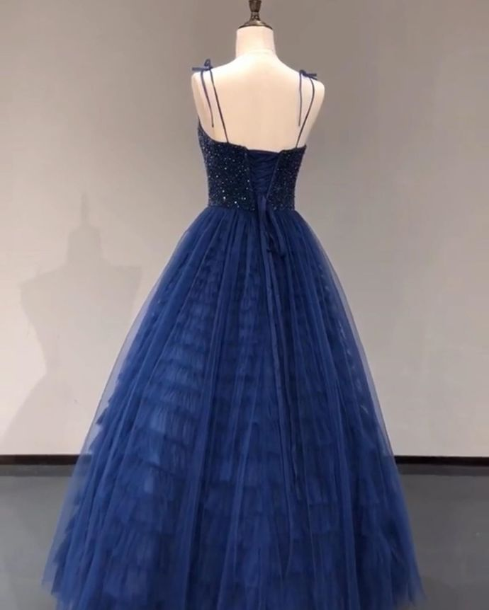 Navy Blue A Line Spaghetti Straps Long Prom/Evening Dresses with Beading