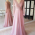 A-line Pink Long Sleeves Modest Bridesmaid Dresses With Sleeves V Neck Ruched