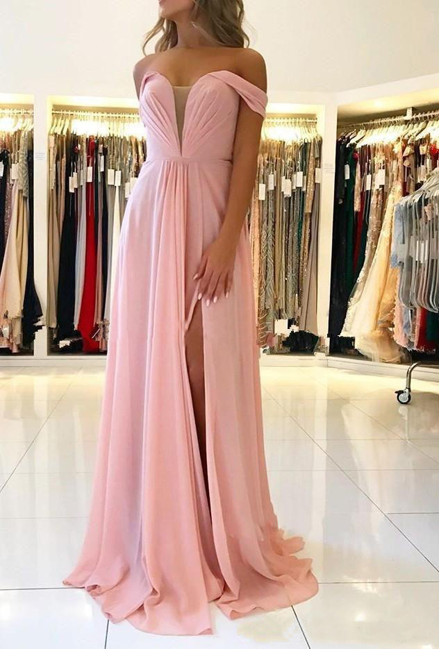 2020 Fashionable Off The Shoulder A Line Pink Prom Dresses Chiffon Floor Length