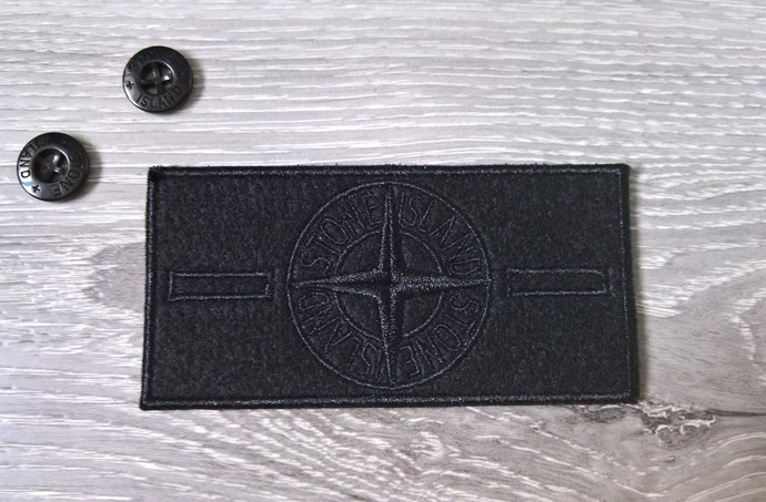 Stone Island patch Black badge with two buttons