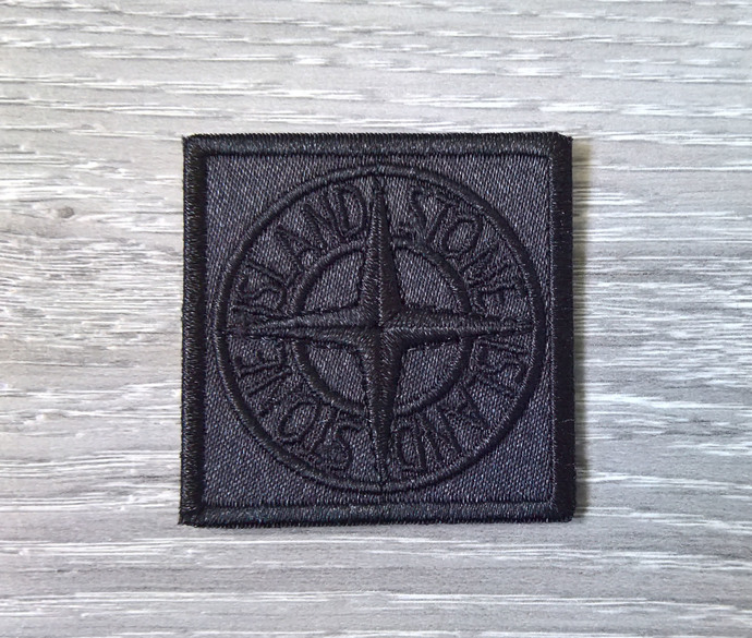 Stone Island patch Universal black badge with two buttons