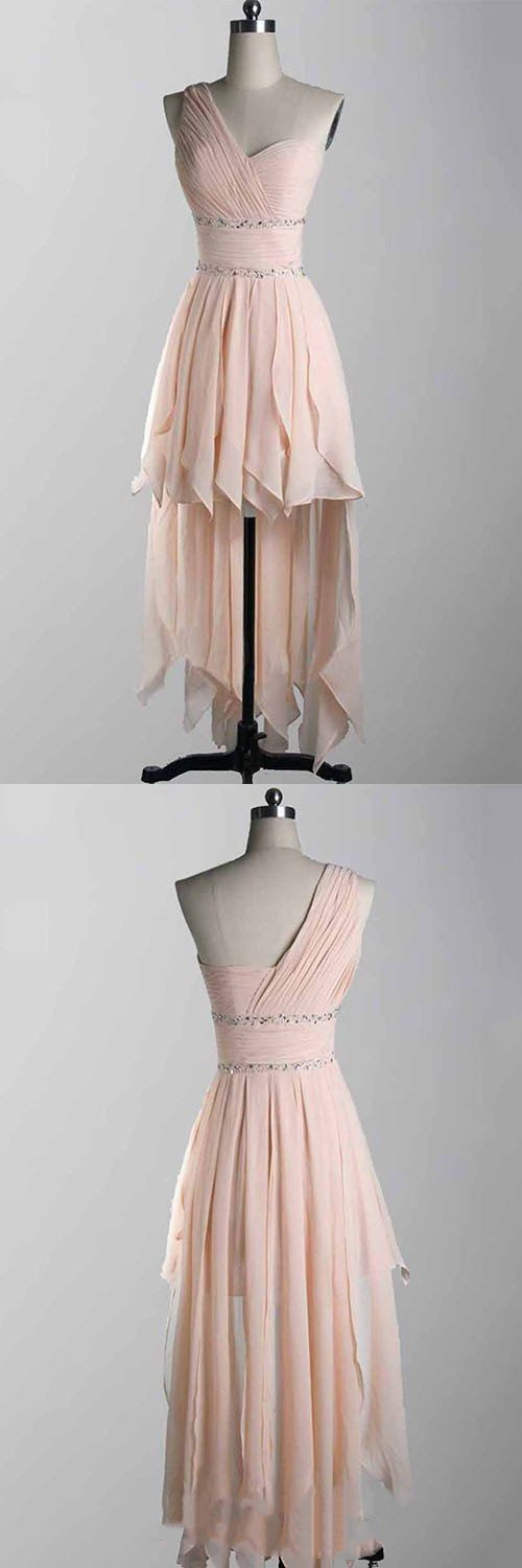 One Shoulder Chiffon High-low Prom Dresses, Pink Homecoming Dress