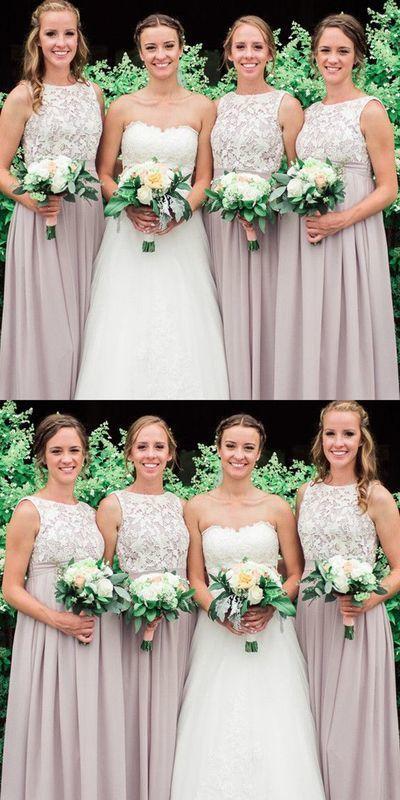 Elegant A Line Chiffon Lace Bridesmaid Dress, Wedding Guest Dress
