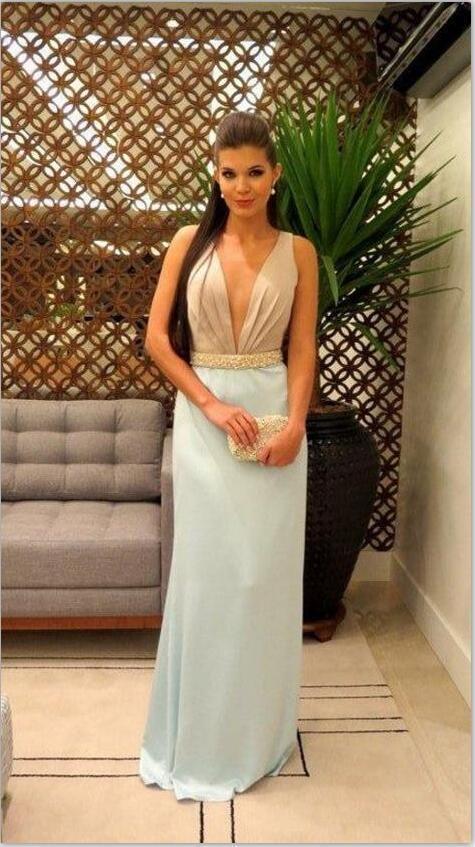 Deep V neck Prom Dresses, Sexy Chiffon Light Blue Long Evening Party Dress