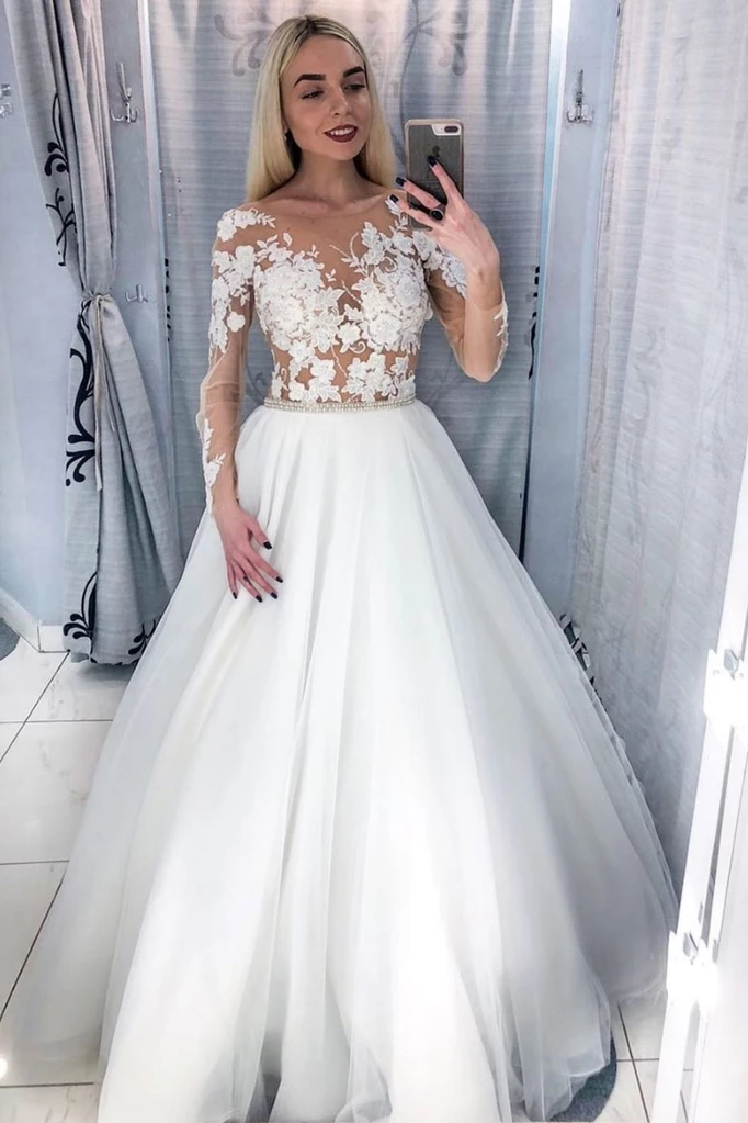 White Tulle Ball Gown Wedding Dress with Appliques, Long Sleeve White Bridal