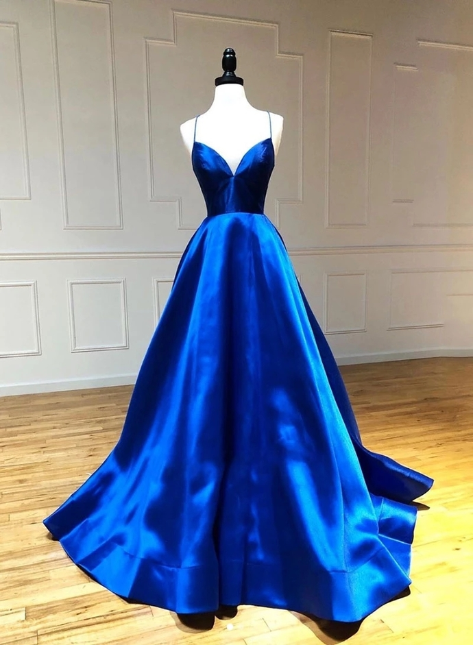 Royal Blue Satin Backless Prom Dresses, Spaghetti Straps Evening Party Dress