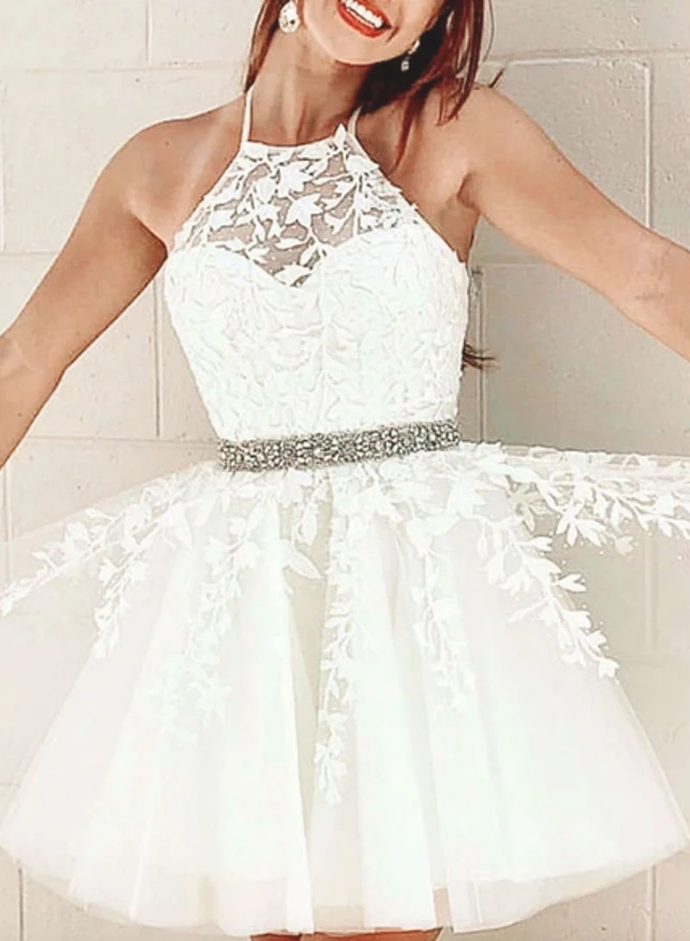 Princess Tulle White/Yellow Short Homecoming Dress with Appliques