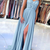 Spaghetti Straps Chiffon Blue A Line Prom Dresses, Lace Evening Party Dress