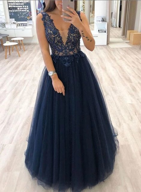 Navy V neck A Line Tulle Evening Dress, Appliques Prom Dress, Women Dress