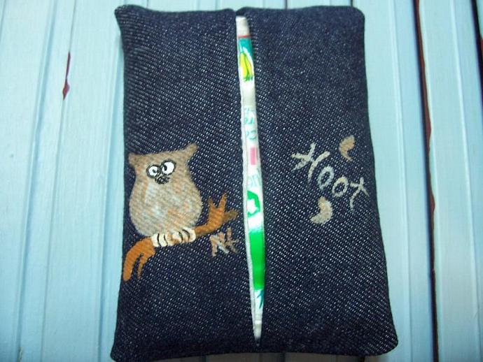 Hoot Owl Denim Tissue Holder