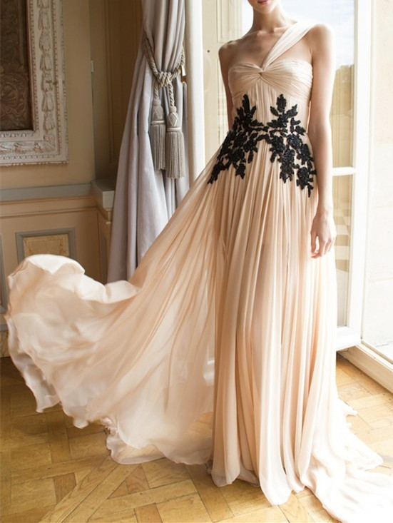 Chiffon Prom Dress,Appliques Prom Gown,A-Line Evening Dress,One-Shoulder Prom