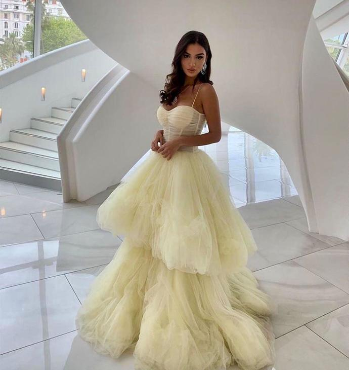 Yellow Prom Dress,Tulle Prom Gown,A-Line Evening Dress,Spaghetti Straps Prom