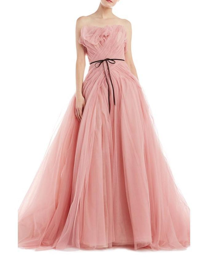 Pink Prom Dress,Tulle Prom Gown,A-Line Evening Dress,Strapless Prom Gown 0119