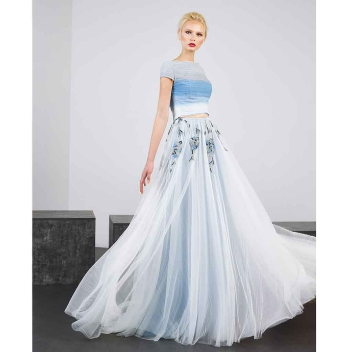 Two Pieces Prom Dress,Tulle Prom Gown,A-Line Evening Dress,Appliques Prom Gown