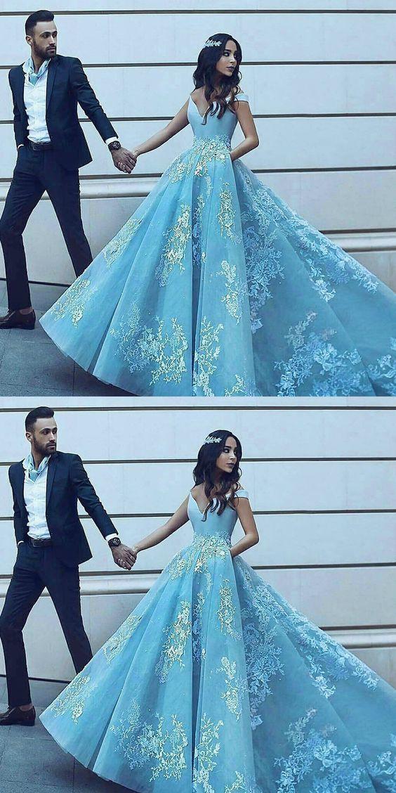 lace applique blue prom dresses 2020 off the shoulder elegant tulle a line