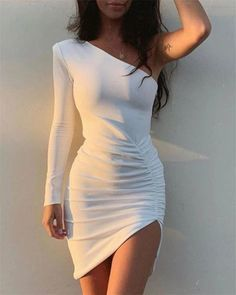 One Shoulder White Long Sleeve Homecoming Dress