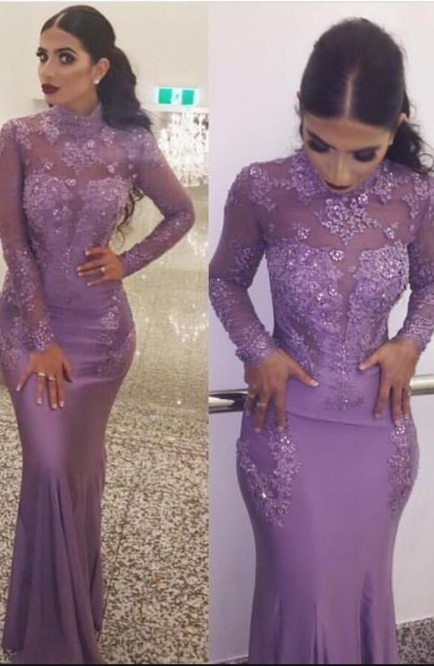 Elegant High Neck Long Sleeve Prom Dresses Long Lace Appliqued