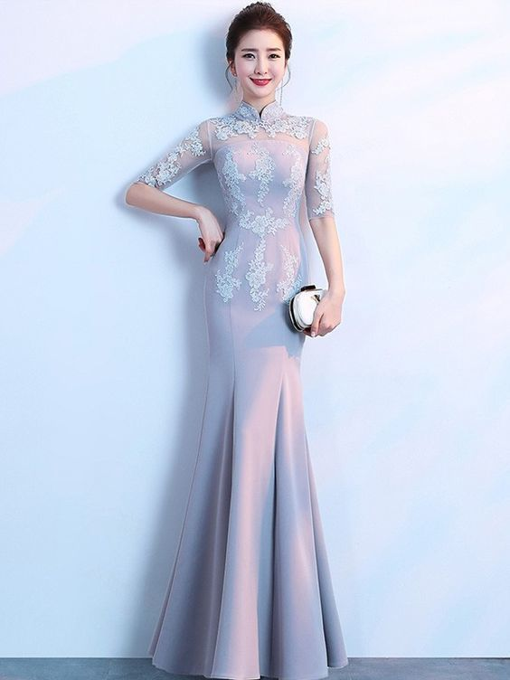 Gray Floor Length Mermaid Qipao /Cheongsam Dress